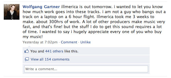 Wolfgang Gartner on Facebook talks about buying his music, not (just) downloading it for free